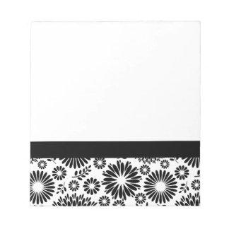 Boho Blumenschwarzweiss-vektorblumenmuster Notizblock