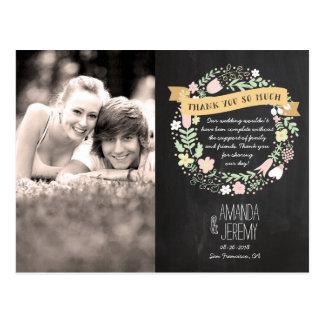 Boho Blumewreath-rustikale Tafel-Hochzeit Postkarte