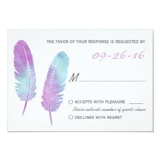 Boho böhmische Feder lila und blaues Hochzeit UAWG 8,9 X 12,7 Cm Einladungskarte