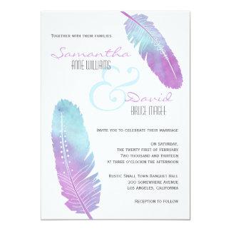 Boho böhmisches Feder Wedding lila und blau 12,7 X 17,8 Cm Einladungskarte