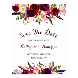 Boho Burgunder Marsala Blumenwedding Save the Date Postkarte