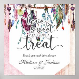 Boho Dreamcatcher u. Feder-Liebe ist süße Leckerei Poster
