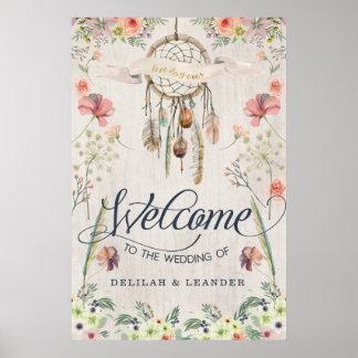 Boho Dreamcatcher Willkommen zur Hochzeit des Poster