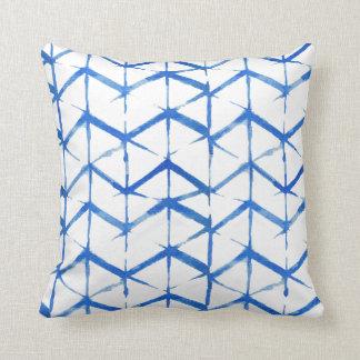Boho eklektisches blaues Krawatten-Kissen Kissen