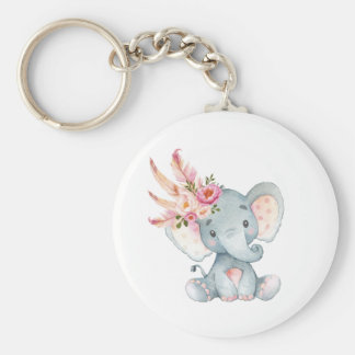 Boho Elefant-Rosa BlumenKeychain Schlüsselanhänger