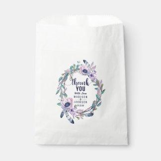Boho Feder u. BlumenKranz-Hochzeit danken Ihnen Geschenktütchen