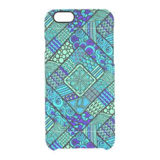 Boho grün-blaues abstraktes Stammes- Muster Durchsichtige iPhone 6/6S Hülle