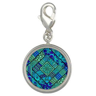 Boho grün-blaues abstraktes Stammes- Muster Foto Charms
