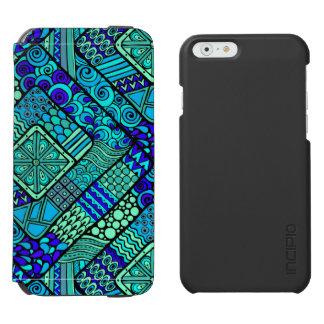 Boho grün-blaues abstraktes Stammes- Muster Incipio Watson™ iPhone 6 Geldbörsen Hülle