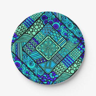 Boho grün-blaues abstraktes Stammes- Muster Pappteller