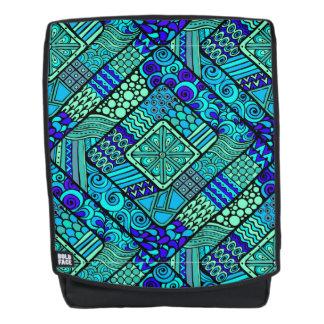 Boho grün-blaues abstraktes Stammes- Muster Rucksack