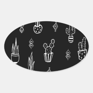Boho Kaktus-Schwarzweiss-Hand gezeichnet Ovaler Aufkleber