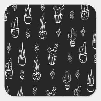 Boho Kaktus-Schwarzweiss-Hand gezeichnet Quadratischer Aufkleber