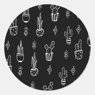 Boho Kaktus-Schwarzweiss-Hand gezeichnet Runder Aufkleber