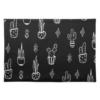 Boho Kaktus-Schwarzweiss-Hand gezeichnet Stofftischset
