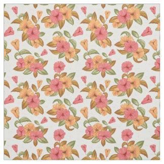 boho korallenrote orange Blumen-Blumenmuster Stoff