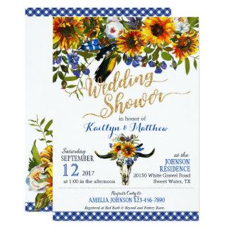 Boho Longhorn-Kuh-Schädel-BlumenBrautparty 12,7 X 17,8 Cm Einladungskarte