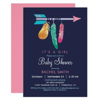 Boho Mädchen-Babyparty-Einladung 12,7 X 17,8 Cm Einladungskarte