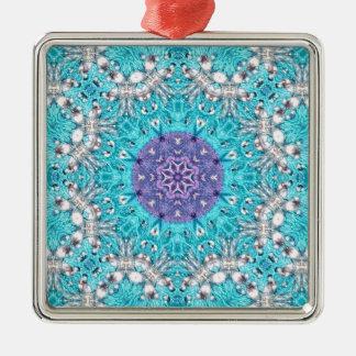 Boho marokkanischer Stickerei-Türkisblauböhme Silbernes Ornament
