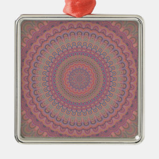 Boho Oval-Mandala Silbernes Ornament