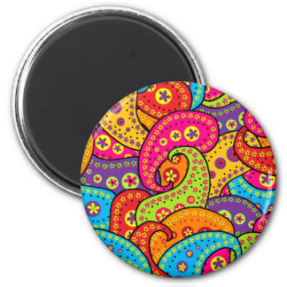Boho Paisley Runder Magnet 5,7 Cm