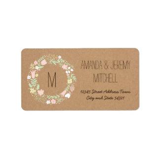 Boho PastellblumenKranz-rustikale Hochzeit Adressetiketten