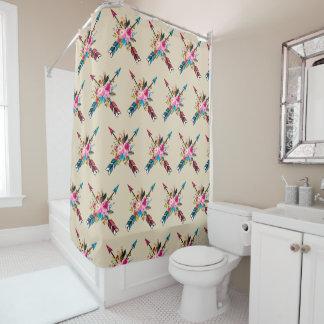 Boho Pfeil-Blumenstrauß-Duschvorhang Duschvorhang