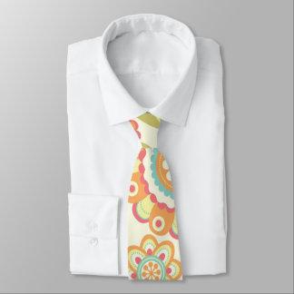 Boho Retro Funky Blumen-Blumenmuster (Creme) Krawatte