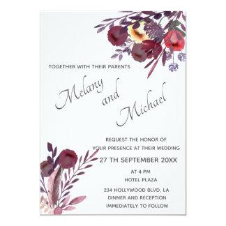 Boho romantischer Blumenstrauß eleganten Aquarells Karte