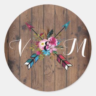 Boho rustikale Blumenpfeil-Hochzeitsaufkleber Runder Aufkleber