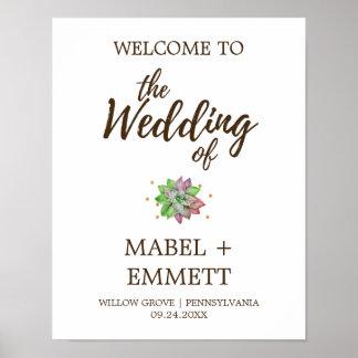 Boho rustikales tadelloses saftiges Hochzeits-mit Poster