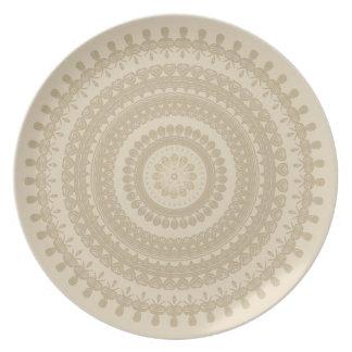 Boho Sand-Stammes- Kreis-Mandala TAN tönernes Melaminteller
