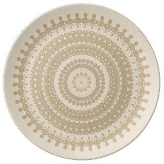 Boho Sand-Stammes- Kreis-Mandala TAN tönernes Teller