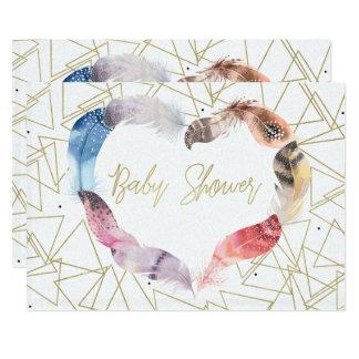 Boho schicke Feder-Herz-Babyparty-Einladungen Karte