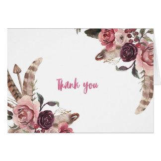 Boho schicke Hochzeit danken Ihnen zu kardieren Karte