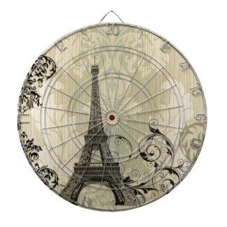 Boho schicker beige Damast-Paris-Eiffelturm Dartscheibe