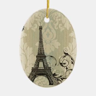 Boho schicker beige Damast-Paris-Eiffelturm Keramik Ornament
