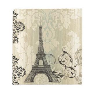 Boho schicker beige Damast-Paris-Eiffelturm Notizblock