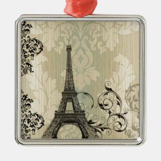 Boho schicker beige Damast-Paris-Eiffelturm Quadratisches Silberfarbenes Ornament