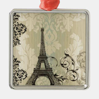 Boho schicker beige Damast-Paris-Eiffelturm Silbernes Ornament