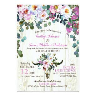 Boho Schicker Longhorn Kuh Schädel Blumenhochzeit Einladung
