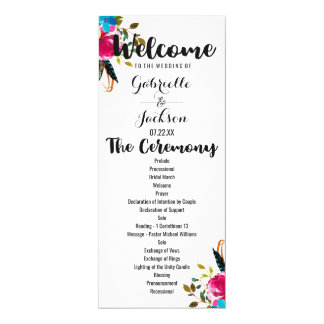 Boho schickes BlumenAquarell-Hochzeits-Programm Karte