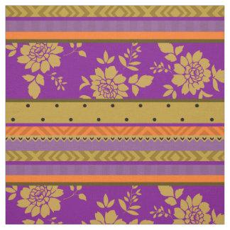 Boho schickes violettes Senf-Gelb-Blumenstreifen Stoff
