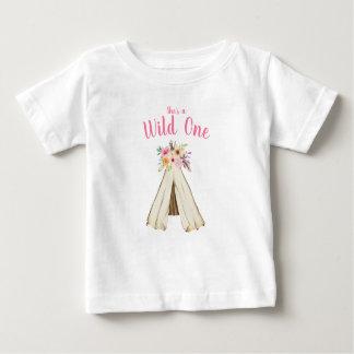 Boho Stammes- Mit Blumenteepee-wilder 1. Baby T-shirt