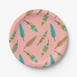 Boho Stammes- schicker rosa Feder-Pappteller Pappteller