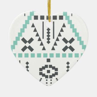 Boho Totem, ethnisches Symbol, Hippie, Azteke, Keramik Herz-Ornament