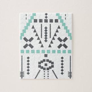 Boho Totem, ethnisches Symbol, Hippie, Azteke, Puzzle