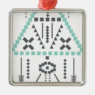 Boho Totem, ethnisches Symbol, Hippie, Azteke, Quadratisches Silberfarbenes Ornament