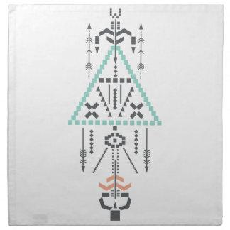 Boho Totem, ethnisches Symbol, Hippie, Azteke, Stoffserviette