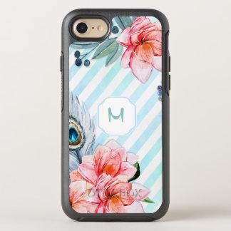 Boho versieht den Blumen Aquarell-Streifen mit OtterBox Symmetry iPhone 7 Hülle